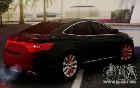 Hyundai Grandeur 2015 STOCK para GTA San Andreas vista posterior izquierda