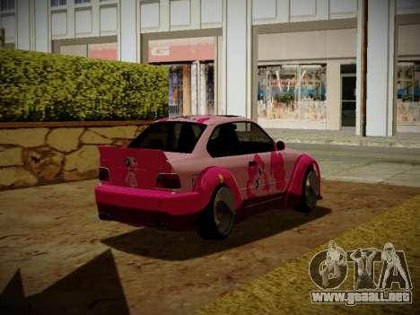 BMW M3 E36 Pinkie Pie para GTA San Andreas vista posterior izquierda