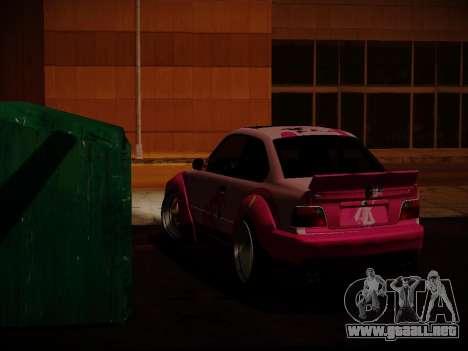 BMW M3 E36 Pinkie Pie para GTA San Andreas vista hacia atrás
