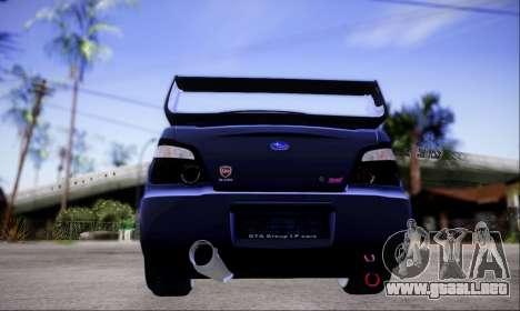 Subaru impreza WRX STi LP400 v2 para GTA San Andreas vista hacia atrás