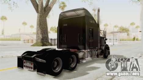 Kenworth T800 Centenario para GTA San Andreas vista posterior izquierda