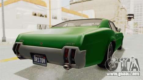GTA 5 Declasse Sabre GT2 para GTA San Andreas vista posterior izquierda