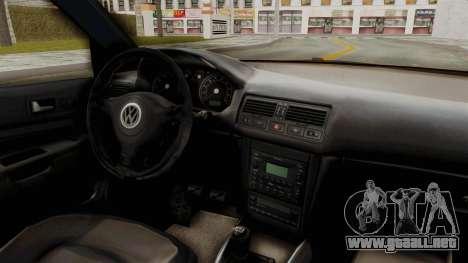 Volkswagen Golf Mk4 V5 Edited para visión interna GTA San Andreas
