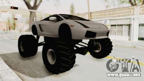 Lamborghini Gallardo 2005 Monster Truck para la visión correcta GTA San Andreas
