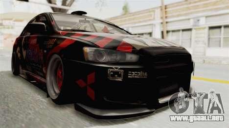 Mitsubishi Lancer Evolution X Ken Kaneki Itasha para la visión correcta GTA San Andreas