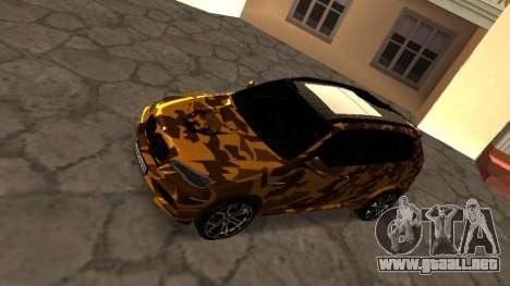 BMW X5M ( Davidich ) para GTA San Andreas vista posterior izquierda