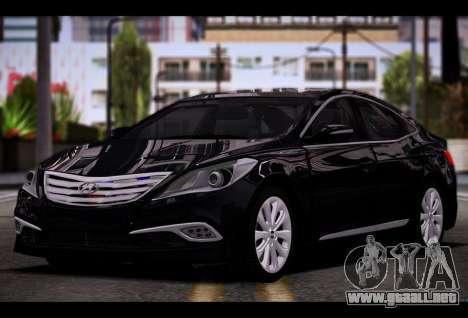Hyundai Grandeur 2015 STOCK para GTA San Andreas vista hacia atrás