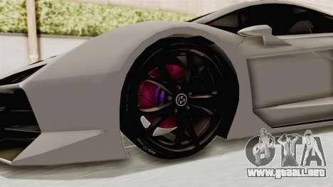 GTA 5 Pegassi Zentorno PJ para GTA San Andreas vista hacia atrás