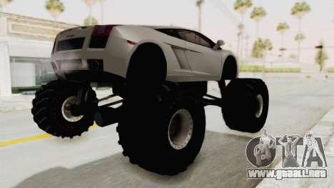 Lamborghini Gallardo 2005 Monster Truck para GTA San Andreas vista posterior izquierda