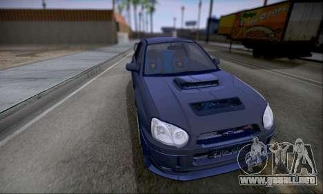 Subaru impreza WRX STi LP400 v2 para GTA San Andreas vista posterior izquierda