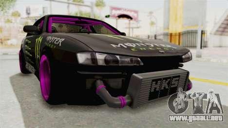 Nissan Silvia S14 Drift Monster Energy Falken para la visión correcta GTA San Andreas