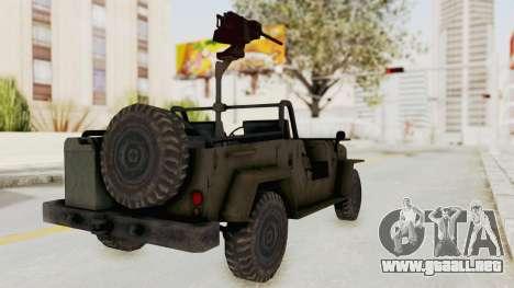 MGSV Jeep para GTA San Andreas vista posterior izquierda