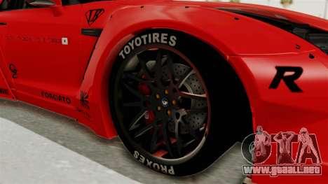 Nissan GT-R R35 Liberty Walk LB Performance v2 para GTA San Andreas vista hacia atrás
