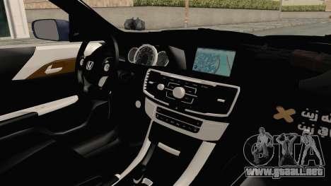 Honda Accord 2017 para visión interna GTA San Andreas
