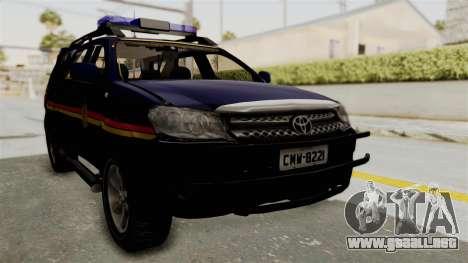 Toyota Fortuner JPJ Dark Blue para la visión correcta GTA San Andreas
