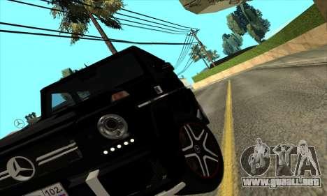 Mercedes G63 Biturbo para GTA San Andreas vista hacia atrás