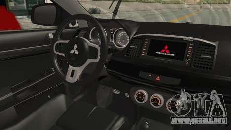 Mitsubishi Lancer Evolution X Ken Kaneki Itasha para visión interna GTA San Andreas