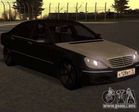 Mercedes S600 W220 JoRick Revazov para GTA San Andreas vista posterior izquierda
