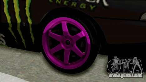 Nissan Skyline R32 Drift Monster Energy Falken para GTA San Andreas vista hacia atrás