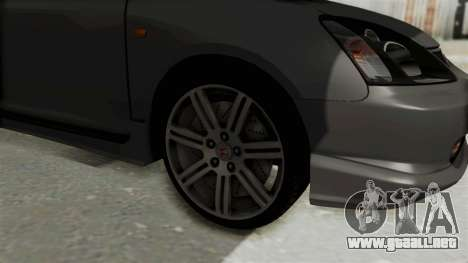 Honda Civic Type R EP3 para GTA San Andreas vista hacia atrás