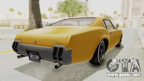 GTA 5 Declasse Sabre GT2 A IVF para GTA San Andreas vista posterior izquierda