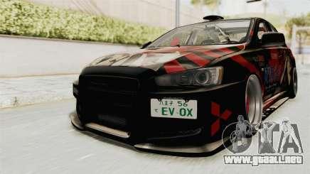Mitsubishi Lancer Evolution X Ken Kaneki Itasha para GTA San Andreas