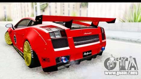 Lamborghini Gallardo Superleggera 2007 para GTA San Andreas vista hacia atrás