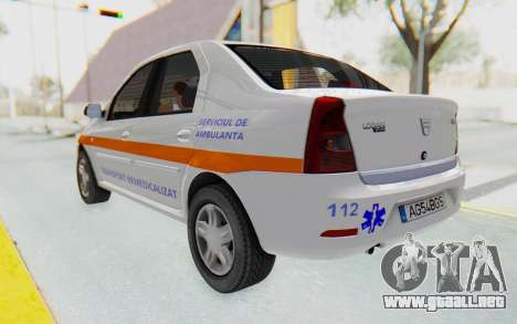 Dacia Logan Facelift Ambulanta para GTA San Andreas vista posterior izquierda