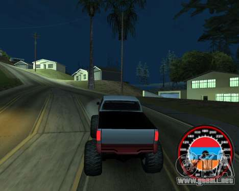 El velocímetro en el estilo de la bandera de arm para GTA San Andreas