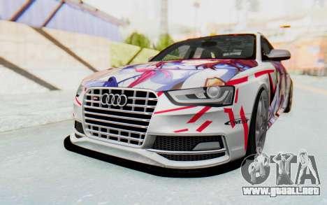 Audi S4 Avant Yurippe Angel Beats Itasha para GTA San Andreas vista posterior izquierda