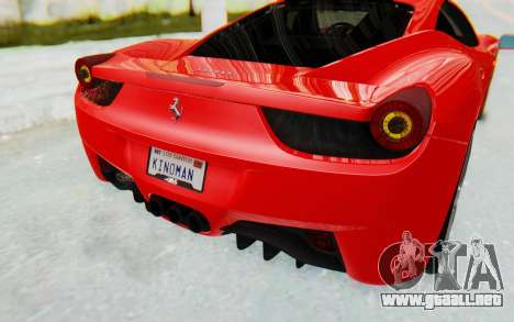 Ferrari 458 Italia F142 2010 para vista inferior GTA San Andreas