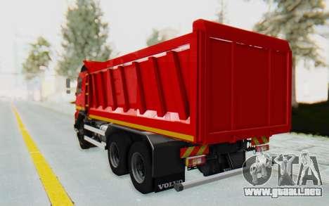 Volvo FMX 6x4 Dumper v1.0 para GTA San Andreas vista posterior izquierda