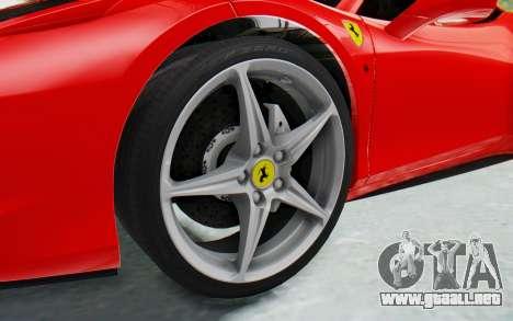 Ferrari 458 Italia F142 2010 para GTA San Andreas vista hacia atrás