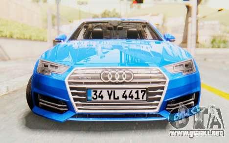 Audi A4 2017 HQLM para GTA San Andreas vista hacia atrás