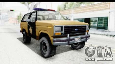 Ford Bronco 1982 Police IVF para la visión correcta GTA San Andreas