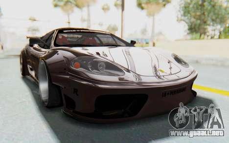Ferrari 360 Modena Liberty Walk LB Perfomance v1 para GTA San Andreas vista posterior izquierda