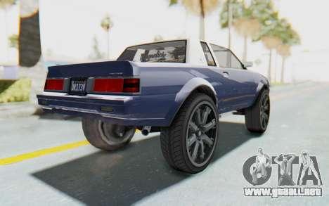 GTA 5 Willard Faction Custom Donk v1 para GTA San Andreas left