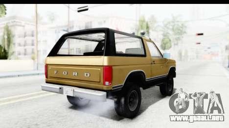 Ford Bronco 1980 IVF para GTA San Andreas left