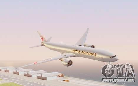 Boeing 777-300ER Japan Airlines v2 para GTA San Andreas vista posterior izquierda