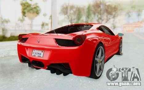 Ferrari 458 Italia F142 2010 para GTA San Andreas left