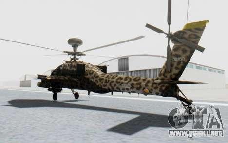 AH-64 Apache Leopard para GTA San Andreas vista posterior izquierda
