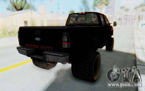 Ford Super Duty Off-Road para GTA San Andreas vista posterior izquierda