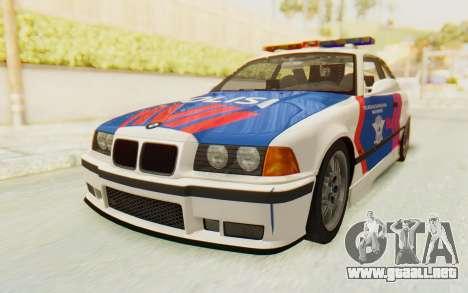 BMW M3 E36 Police Indonesia para GTA San Andreas vista hacia atrás