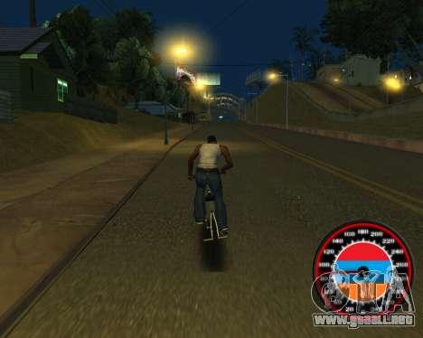 El velocímetro en el estilo de la bandera de arm para GTA San Andreas octavo de pantalla