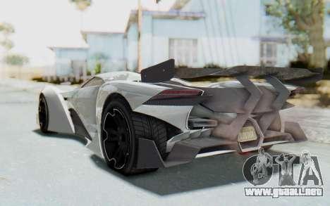 GTA 5 Grotti Prototipo v2 para GTA San Andreas vista posterior izquierda