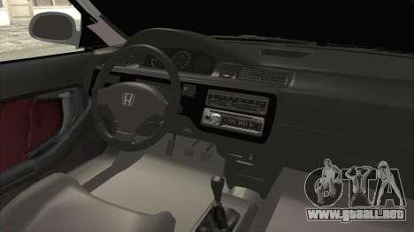 Honda Civic SI Sedan 1992 para visión interna GTA San Andreas