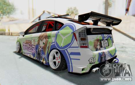 Toyota Prius Hybrid 2011 Hellaflush IF Itasha para GTA San Andreas vista posterior izquierda