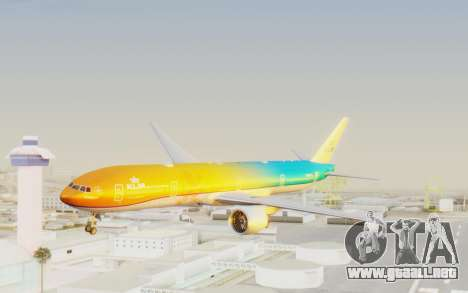 Boeing 777-300ER KLM - Royal Dutch Airlines v1 para GTA San Andreas vista posterior izquierda