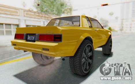 GTA 5 Willard Faction Custom Donk v1 IVF para GTA San Andreas vista posterior izquierda