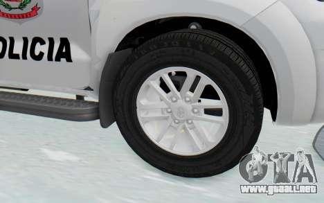 Toyota Fortuner 4WD 2015 Paraguay Police para GTA San Andreas vista hacia atrás